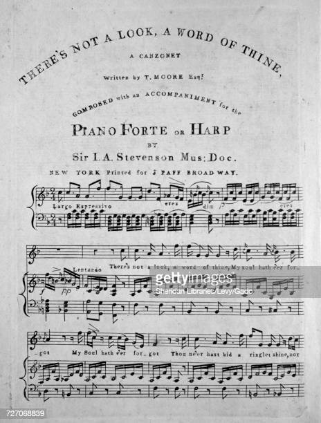 Sheet music cover image of the song 'there's Not a Look a Word of Thine A Canzonet' with original authorship notes reading 'Written by T Moore Esqr...