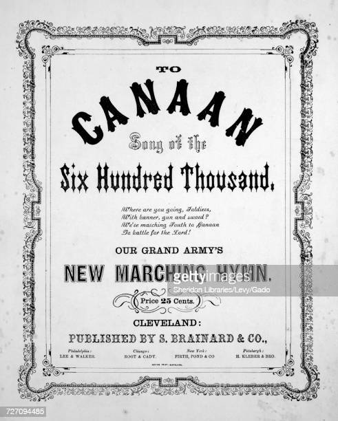 Sheet music cover image of the song 'to Canann Song of the Six Hundred Thousand Our Grand Army's New Marching Hymn' with original authorship notes...