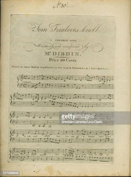 Sheet music cover image of the song 'tom Trueloves Knell A Favorite Song' with original authorship notes reading 'Written and composed by Mr Dibdin'...