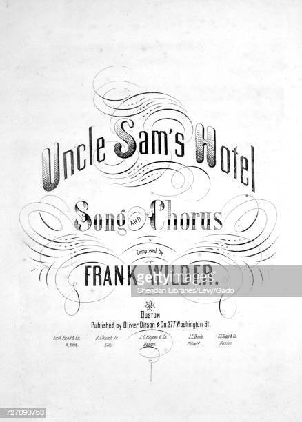 Sheet music cover image of the song 'Uncle Sam's Hotel Song and Chorus' with original authorship notes reading 'Composed by Frank Wilder' United...