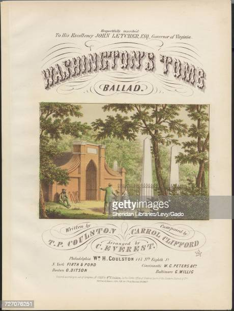 Sheet music cover image of the song 'Washington's Tomb Ballad' with original authorship notes reading 'Written by TP Coulston Composed by Carrol...