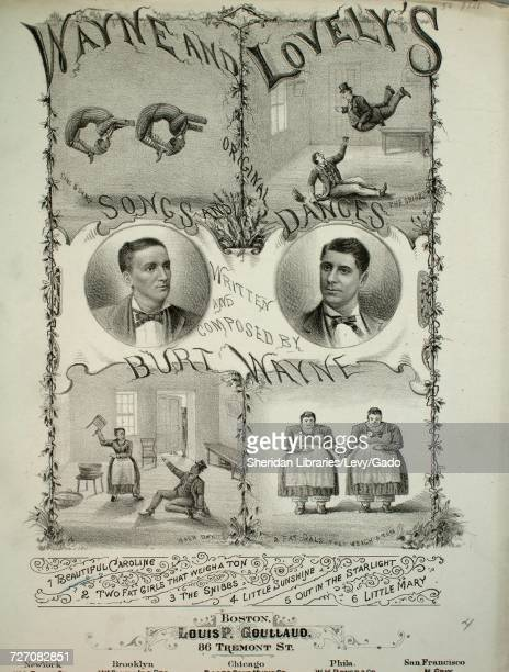 Sheet music cover image of the song 'Wayne and Lovely's Songs and Dances Beautiful Caroline' with original authorship notes reading 'Written and...