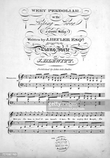 Sheet music cover image of the song 'Wery Pekooliar or The Lisping Lover A Comic Song' with original authorship notes reading 'Written by J Beuler...