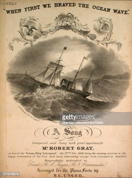 Sheet music cover image of the song 'When First We Braved the Ocean Wave A Song' with original authorship notes reading 'Composed by Mr Robert Gray...