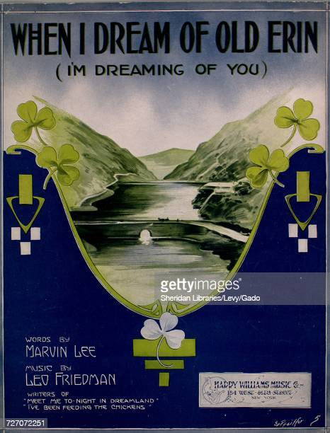 Sheet music cover image of the song 'When I Dream of Old Erin ' with original authorship notes reading 'Words by Marvin Lee Music by Leo Friedman'...