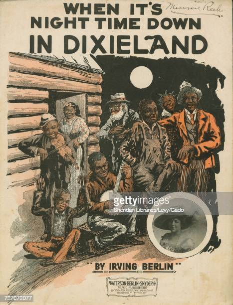 Sheet music cover image of the song 'When It's Night Time Down in Dixieland' with original authorship notes reading 'Words and Music By Irving...