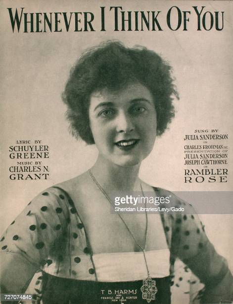 Sheet music cover image of the song 'Whenever I Think of You' with original authorship notes reading 'Lyric by Schuyler Greene Music by Charles N...