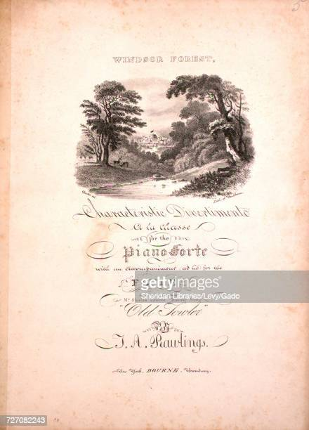 Sheet music cover image of the song 'Windsor Forest Characteristic Divertimento `a la Chasse' with original authorship notes reading 'For the Piano...