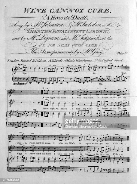 Sheet music cover image of the song 'Wine Cannot Cure A Favorite Duett' with original authorship notes reading 'the Accompaniment by Mr Gray' United...