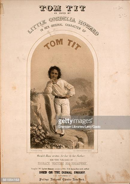 Sheet music cover image of 'Tom Tit' with lithographic or engraving notes reading 'from Ambrotipe by Brady Lithograph of Sarony Major Knapp New York...