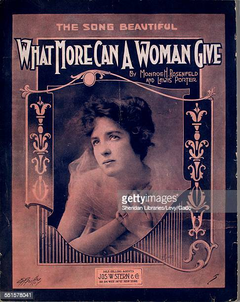 Sheet music cover image of 'What More Can a Woman Give' by Monroe H Rosenfeld and Lewis Porter with lithographic or engraving notes reading 'unattrib...