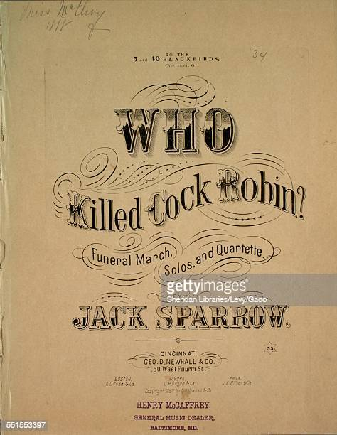 Sheet music cover image of 'Who Killed Cock Robin Funeral March Solos and Quartette' by Jack Sparrow Cincinnati Ohio 1880