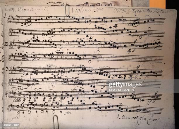 Sheet music in Wolfgang Amadeus Mozart's birthplace at No 9 Getreidegasse Salzburg Austria