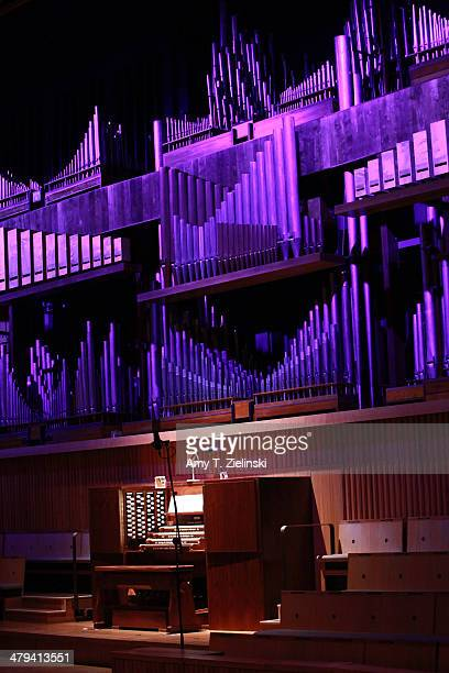 Sheet music is displayed on the organ stand before organist David Goode and conductor Jessica Cottis together with players from the London...