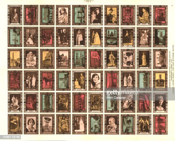 Sheet of 60 Cinderella stamps commemorating King George VI's coronation, 1937. 'Cinderella' stamps is a term used for stamps not issued for postal...