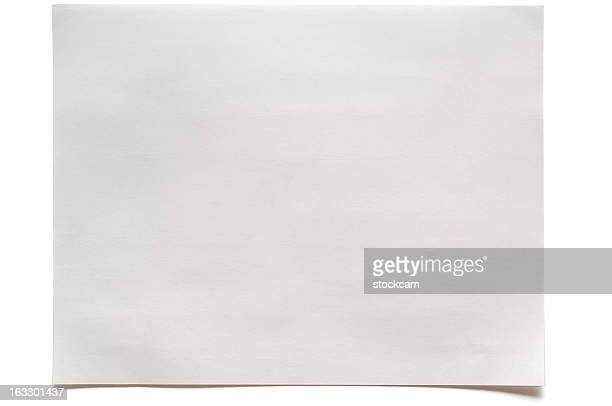 Sheet of blank note paper on white