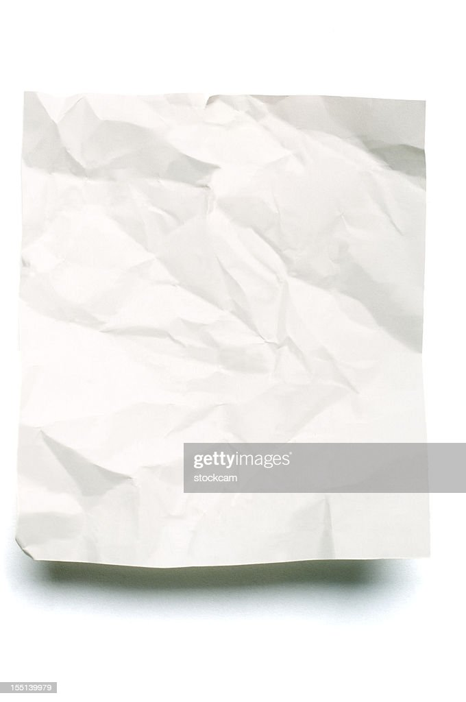 Sheet of crumpled blank note paper : Stock Photo