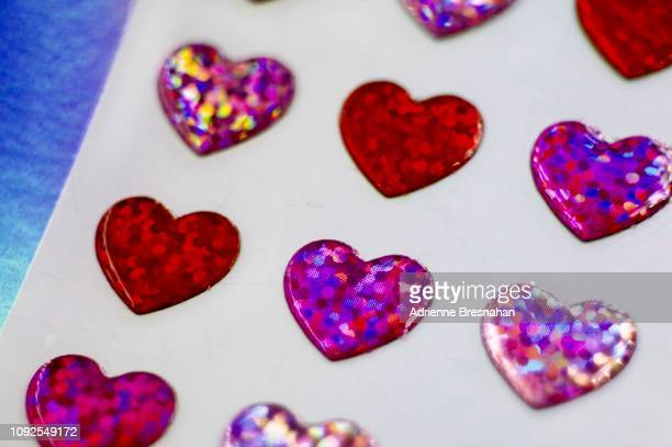Sheet of Holographic Hearts, Close-up