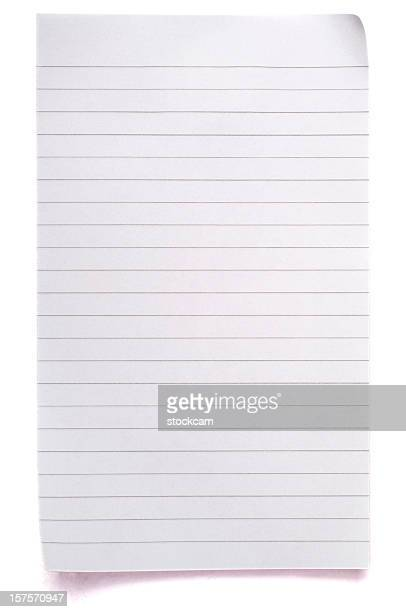Sheet of lined blank note paper