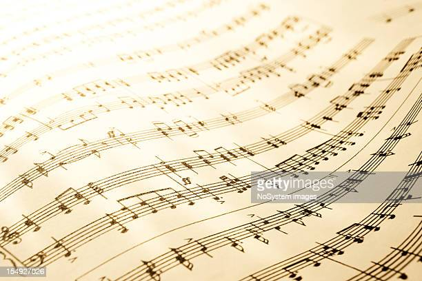 sheet of musical symbols - sheet music stock photos and pictures