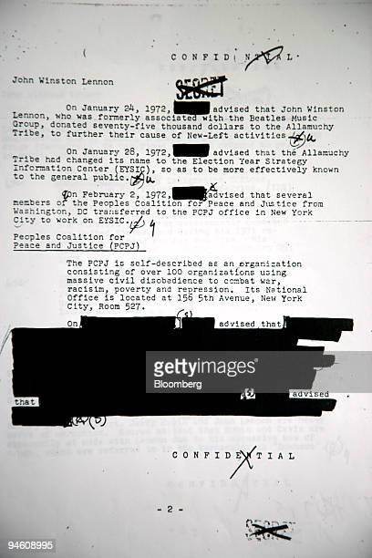 Sheet of paper out of John Lennon's FBI file is kept by Jon Wiener, a professor of History at the University of California, Irvine, in Los Angeles,...