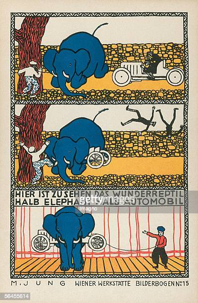 Sheet of pictures of the Viennese Werkstaette Number 15 half elephant half automobile Colour Lithography by Jung Moriz 273 18 cm Around 1907...