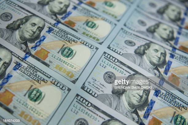 A sheet of rare and sought after star notes is seen after the phase of production where the new 100 USD bills are applied with a serial number a US...