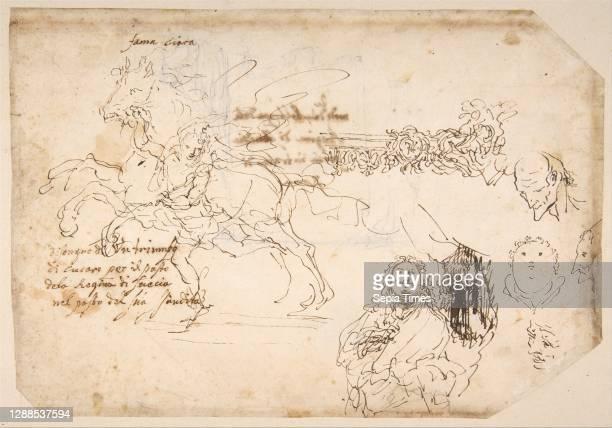 Sculpture for a Banquet Honoring Queen Christian of Sweden., early 17th–late 17th century, Pen and brown ink on ivory paper, sheet: 8 1/4 x 11 15/16...