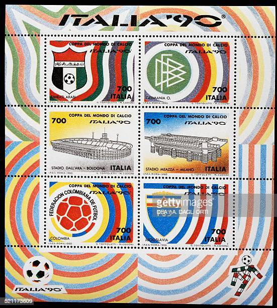 Sheet of stamps issued for the 1990 FIFA World Cup in Italy Italy 20th century Italy