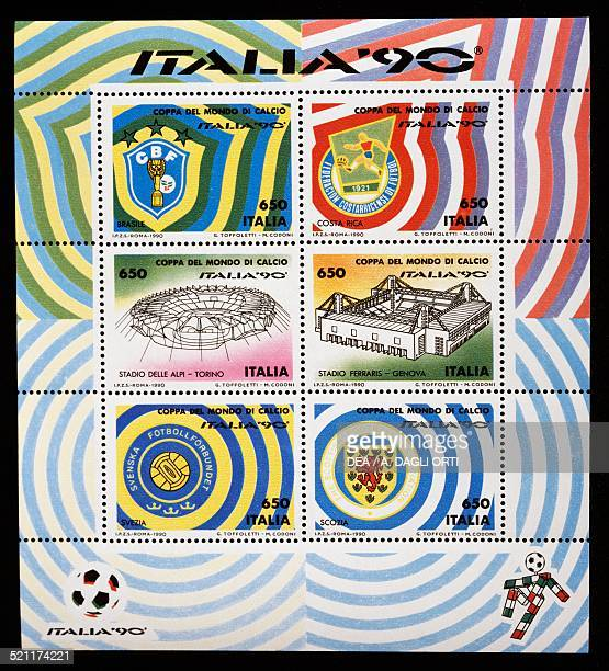 Sheet of stamps issued for the 1990 FIFA World Cup in Italy. Italy, 20th century. Italy