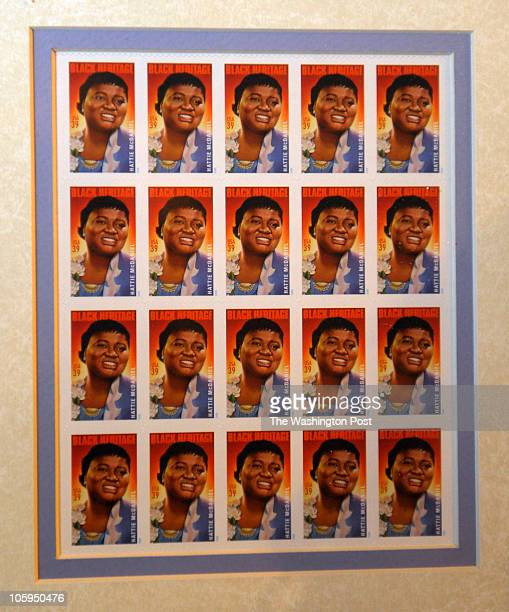 A sheet of the new 39cent postage stamps of Hattie McDaniel is on the wall of the Theatre Arts Department at Howard University on April 9 2010