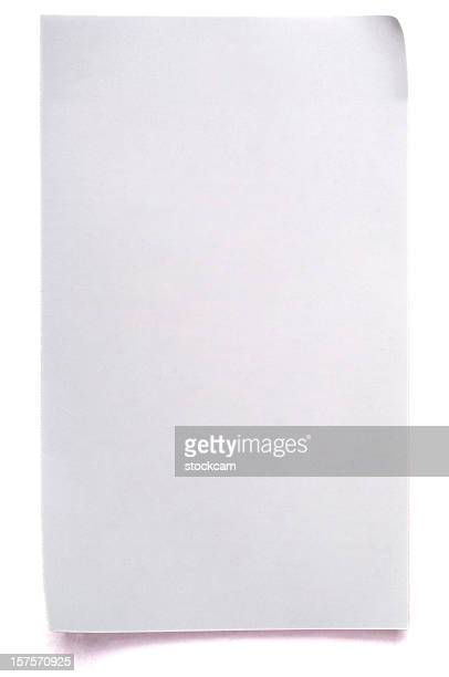 Sheet of white note paper isolated