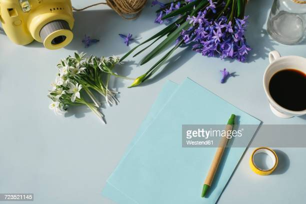 Sheets of paper, camera, cup of coffee and spring flowers on light blue background