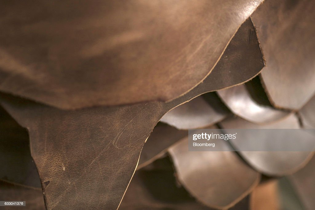 Sheets of processed leather sit stacked inside the Jalandhar Leather Pvt tannery in Jalandhar Punjab India on Saturday Jan 21 2017 India`s 51 million.