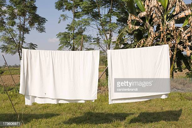 sheets on a clothes line - clothesline stock pictures, royalty-free photos & images