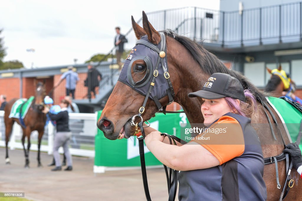 Sheezdashing after winning the Peter & Lavella DaRose - AFC SV 3YO Fillies Maiden Plate at Cranbourne Racecourse on October 13, 2017 in Cranbourne, Australia.