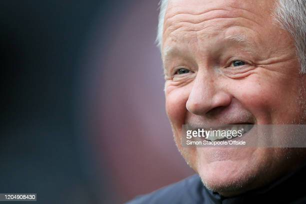 Sheff Utd manager Chris Wilder smiles before the Premier League match between Sheffield United and Brighton & Hove Albion at Bramall Lane on February...