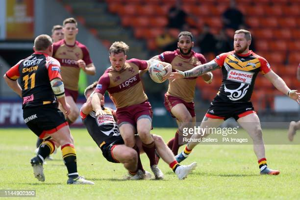 Sheffeld Eagles Aaron Brown in action during the Betfred Championship Summer Bash match at Bloomfield Road Blackpool