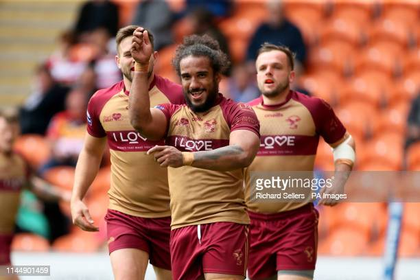 Sheffeld Eagles Joel Farrell celebrates his try during the Betfred Championship Summer Bash match at Bloomfield Road Blackpool