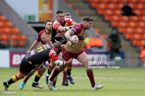 Sheffeld Eagles Matt James is tackled during the Betfred Championship Summer Bash match at Bloomfield Road Blackpool