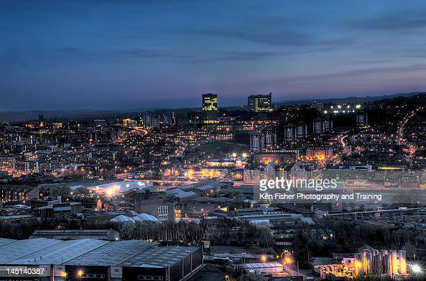 sheffield at night - sheffield stock pictures, royalty-free photos & images