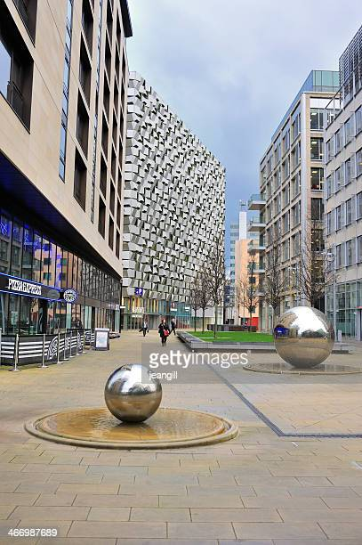 sheffield city centre uk with steel balls - sheffield stock pictures, royalty-free photos & images