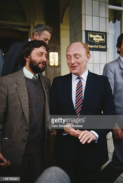 Sheffield City Council leader David Blunkett with British Labour Party leader Neil Kinnock at the party conference Blackpool Lancashire 30th...