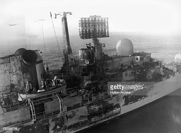 HMS Sheffield damaged by an Exocet missile attack near the Falkland Islands during the Falklands War May 1982 Twenty people lost their lives in the...