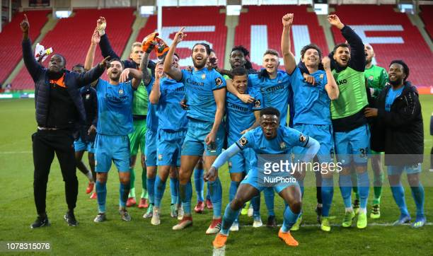 Sheffield England 06 January 2019 Barnet players celebrate they win during FA Cup 3rd Round between Sheffield United and Barnet at Bramall Lane...