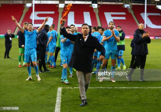 Sheffield England 06 January 2019 Darren Currie Caretaker manager of Barnet celebrate they win After FA Cup 3rd Round between Sheffield United and...