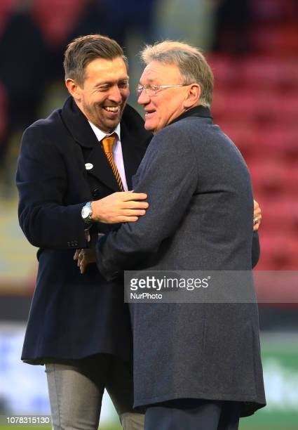 Sheffield England 06 January 2019 Darren Currie the caretaker manager of Barnet alongside his uncle Tony Currie ex Sheffield United player and club...