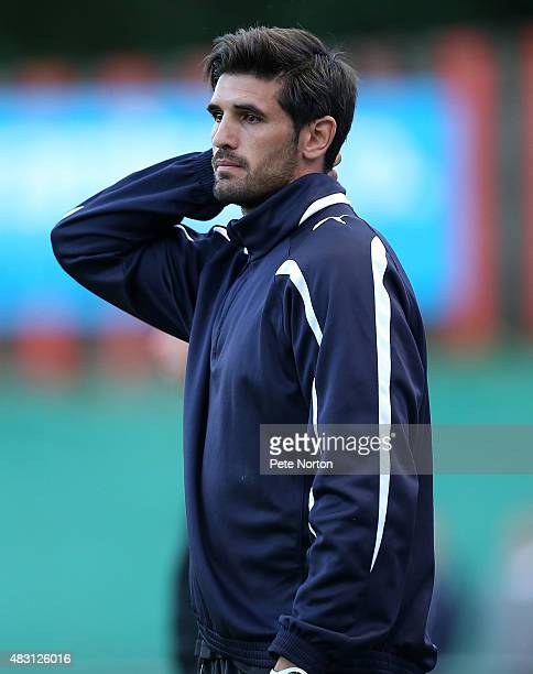 Sheffield FC coach Miguel Angel Llera Garzon looks on during the PreSeason Friendly match between Sheffield FC and Northampton Town at the Coach...