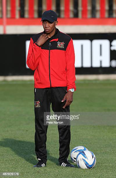 Sheffield FC manager Andy Kiwomya looks on during the pre match warm up prior to the PreSeason Friendly match between Sheffield FC and Northampton...