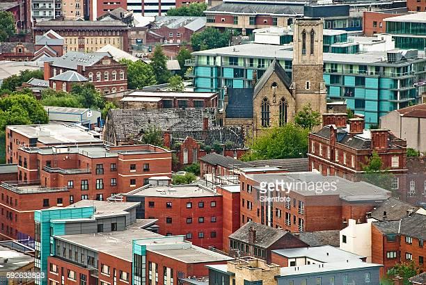 sheffield innercity aerial view - sheffield fotografías e imágenes de stock